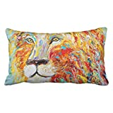 Accrocn Pillowcases Colorful Abstract Animal Lion Art Oil Painting Polyester Pillow Covers 20 x 36 Inch King Size Rectangle Cushion Decorative Pillowcase With Hidden Zipper Home Sofa