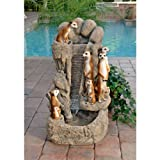 30'' Classic Wildlife Meerkat Family Watering Hole Home Garden Water Fountain