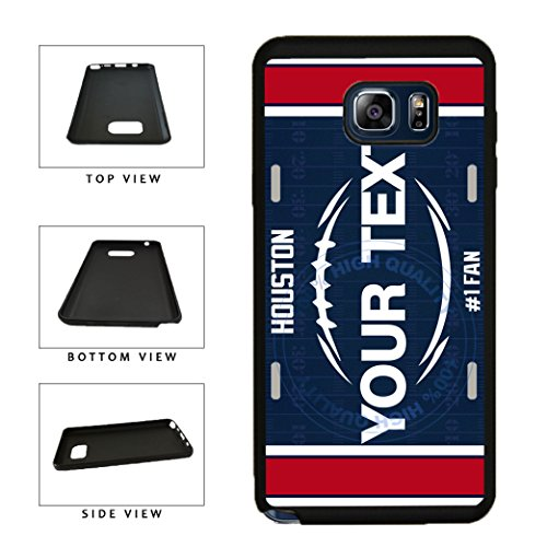 BleuReign(TM) Personalized Custom Name Football Houston License Plate TPU RUBBER SILICONE Phone Case Back Cover For Samsung Galaxy S8