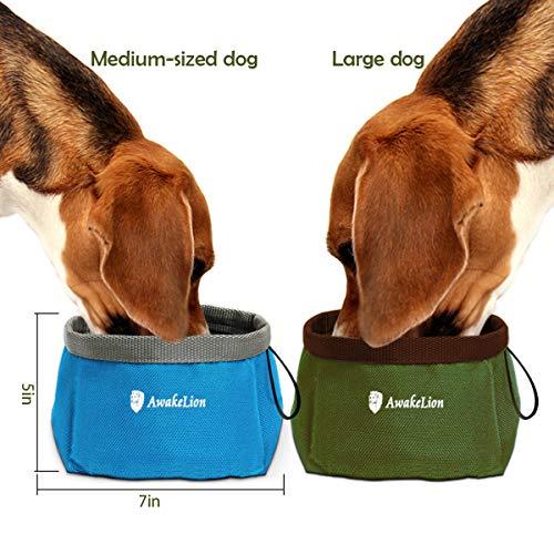 Awakelion Collapsible Dog Bowl Kit, Portable Travel Dog Food Carrier +2 Pack Dog Bowl Food Water -Perfect Medium & Large Dog