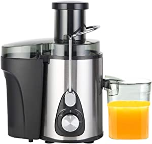 Electric Juice Extractor Machine, 600W Centrifugal Juicers Electric Anti-Drip 3 Speed BPA-Free with Juice Jug, 3'' Wide Mouth, Non-Slip Feet and Pulp Container for Fruit Vegetable