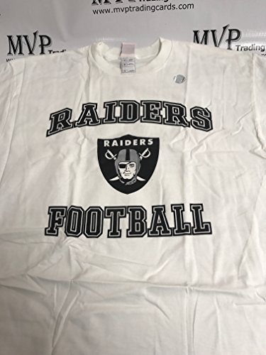 Oakland Raiders Football White Men's Size XL T-Shirt by MVP TRADING CARDS COMPANY