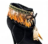 Auburn Brown Feathers Tipped in Black and Black Trim with Gold Stitching Boot Dazzles