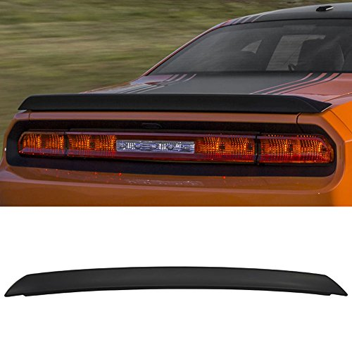 Trunk Spoiler Fits 2008-2014 Dodge Challenger | SRT Style Primer Matte Black ABS Car Exterior Trunk Spoiler Rear Wing Tail Roof Top Lid by IKON MOTORSPORTS | 2009 2010 2011 2012 2013 (Challenger R/t Hemi Coupe)