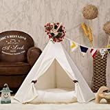 DEWEL Dog Teepee Removable and Washable Pure White Pet Kennels Pet Play House Dog Play Tent Cat/Dog Bed - Small