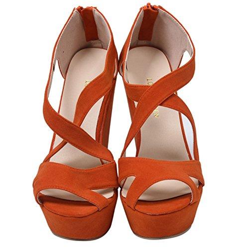 Hochhackige Sandalen - SODIAL(R)Damen Absatzplattform Stiefel mit Beilaeufiger Pumpe Hochzeit Knoechelschuhe Orange 41