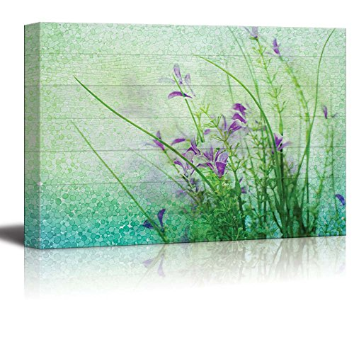 Wall26 - Small Purple Flowers with a Blue and Green Polkadot Texture Over Wood Panels - Canvas Art Home Decor - 16x24 - Polka Frame Dot
