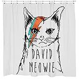 David Bowie Shower Curtain - Funny Grumpy Cat Bathroom Decor - Iconic Album Cover Art - Waterproof - Fits Bathtub - 72 x 72