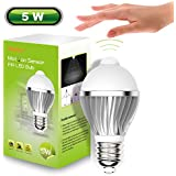 iRainy E27 LED Infrared Motion Detection Light Sensor Pir Warm White Light Bulb Lamp Auto Switch Stairs Night Light-5W