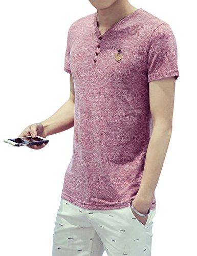 先駆者テープバラエティTシャツ メンズ Vネック 半袖 長袖 配色切替 ボタン 快適 カジュアル おしゃれ