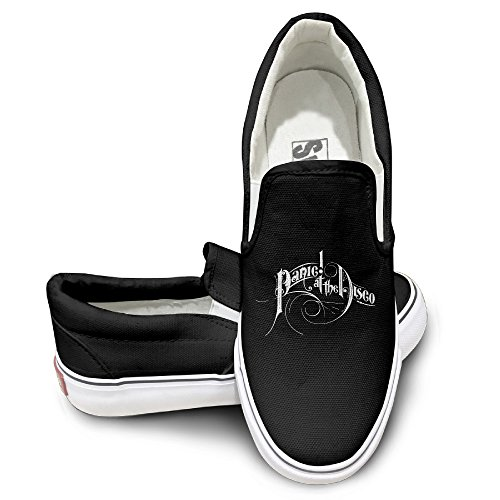 [HYRONE Panic At Logo Disco Unisex Footwall Canvas Shoes Dancing Black Size 42] (Dance Costumes Online America)