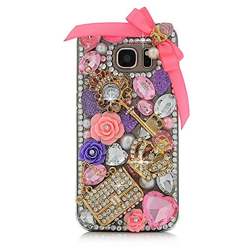 Galaxy S7 Case - Maviss Diary 3D Handmade Bling Crystal Lovely Pink Bow Golden Key Bag Crown with Colorful Diamonds Gems Flowers Pearls Clear Hard PC Cover for Samsung Galaxy S7 (2016)