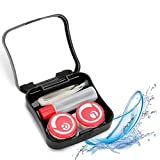 Contact Lens Box, Mini Portable Contact Lens Case with Mirror Tweezers Sticker Set Lenses Travel Kit Box