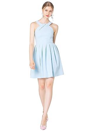 7272eb29c5 YIGELILA Women's Light Blue Sleeveless Spaghetti Straps Summer Flared Mini  Skater Dress