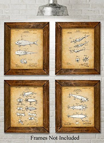 Original Fishing Lures Patent Art Prints - Set of Four Photos (8x10) Unframed - Great Gift for Fisherman (Antique Prints Reproduction)