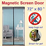 ZYettst 72''(w) X 80''(h) Magnetic Screen Door for French Doors/Sliding Glass Doors/Patio Doors,Hands Free Instant Mesh Mosquito & Bug Net Curtain Black