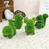 4Pcs Stuffed Plant Artificial Animals Moss Green Grass Ornaments Home Office Decor