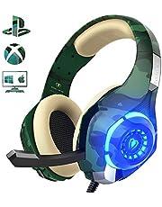 Beexcellent Cuffie Gaming Xbox One PS4, Multi-Platform Bassi Profondi Over Ear Confortevole Cuffia con Microfono Isolamento Rumore di Controllo del Volume LED per PC (green)
