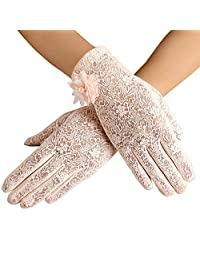 Summer Floral Lace Screentouch Short Gloves for Women Outdoor Sun UV Protection Driving Anti-Skid Mittens