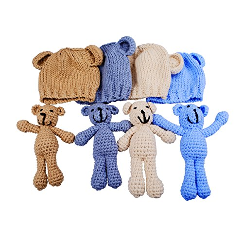 EUDORA Newborn Photography Prop Photo Crochet Boys Girls Knit Toy Bear Hats,Infant Baby