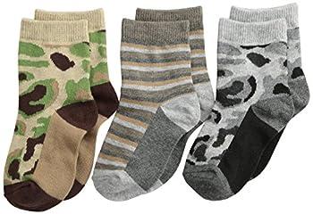 Jefferies Socks Baby Boys' Camouflage Stripe Crew Socks 3 Pair Pack, Camouflage, Toddler Months