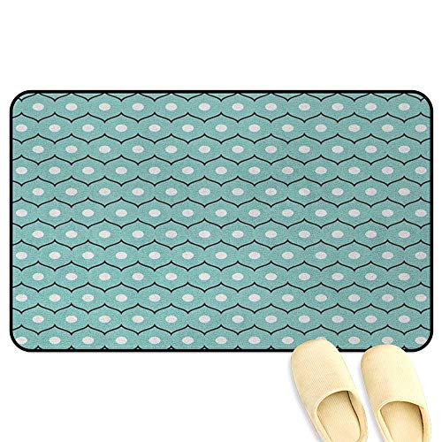 (Abstract Floor Comfort Mat Geometric Circles and Wavy Stripes Scroll Old Fashioned Illustration Seafoam Black White Decorative Floor Mat W39 x L63 INCH)