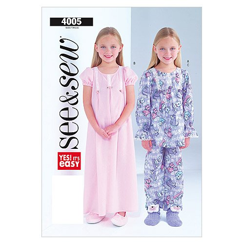 Butterick B4005 Children's/Girls' Nightgown, Top and Pant...