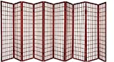 3 - 10 Panel Room Divider Square Design Cherry (10 Panel)