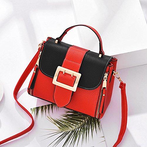 OME&QIUMEI Chica Pack Solo Bolso Pequeño Paquete Cuadrado Paquetes Pequeños (22*9*17) Negro Rojo