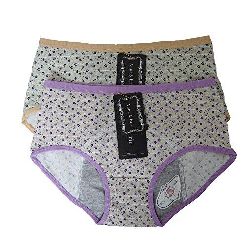 Anna & Eric 2 Pack Women's Cotton Menstrual Period Panties Protective Briefs (M(Waist:28-30
