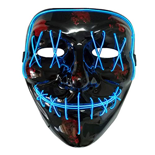 AUHOO LED Purge Mask Light up Halloween Mask Scary Masks for Adults & Kids, 3 Flash Modes, Party Favors