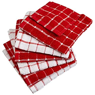 DII Cotton Terry Windowpane Dish Cloths, 12 x 12  Set of 6, Machine Washable and Ultra Absorbent Kitchen Bar Towels-Red