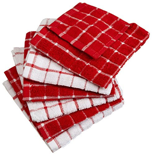 DII Windowpane Washable Absorbent Towels Red