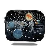 Laptop Sleeve Case,Galaxy,Solar System All Eight Planets and the Sun Pluto Jupiter Mars Venus Science Fiction,Black Grey,iPad Bag