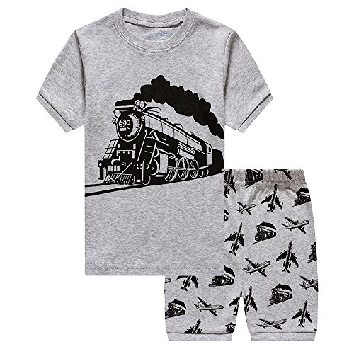 Little Boys Train 2 Piece Pajamas Shorts 100% Cotton Sleepwear for Kids, Gray Train, 4-5 Years/5T