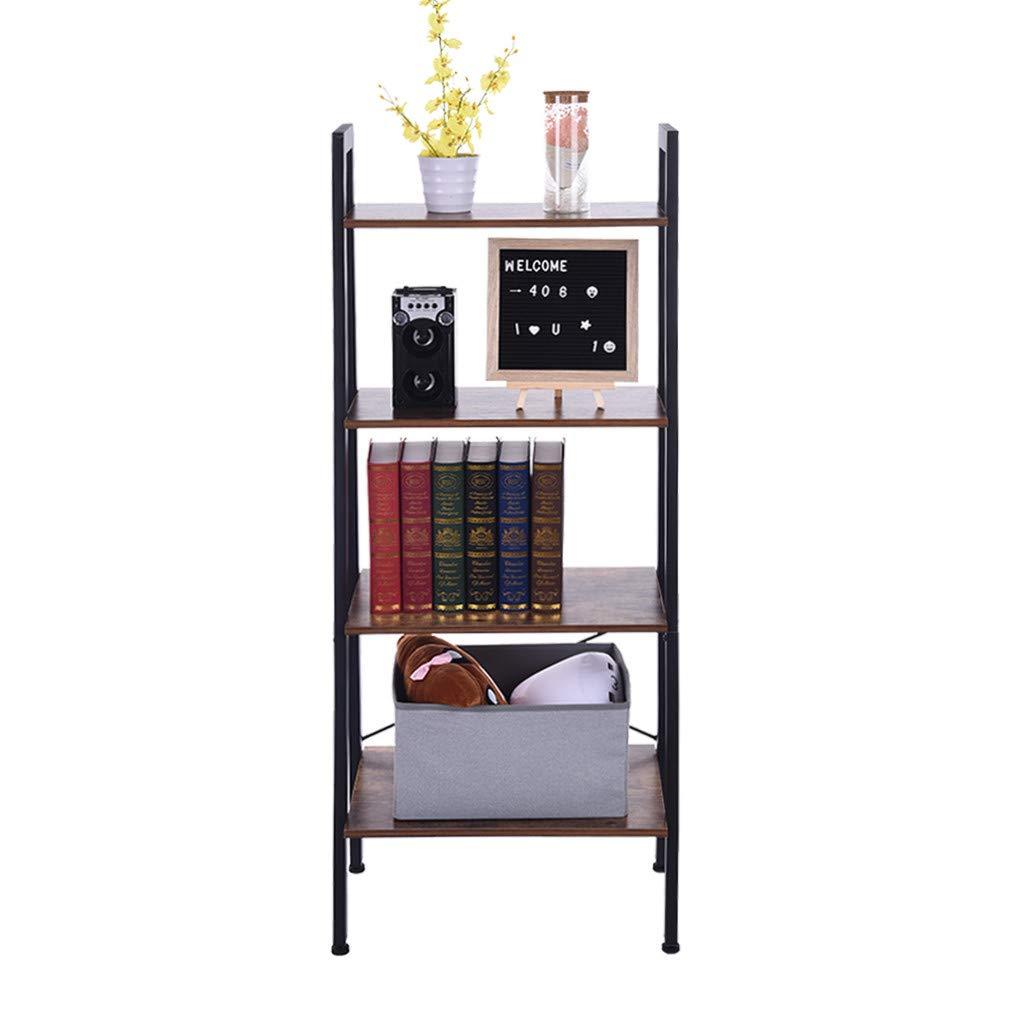 Cuekondy 2019 New Vintage Ladder Shelf, 4-Tier Wood Metal Frame Bookshelf Book Case, Plant Flower Stand Storage Rack Shelf Unit (Vintage)