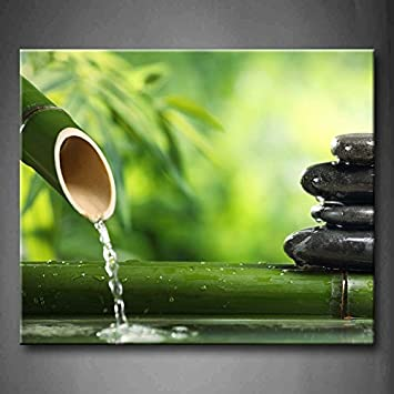 First Wall Art   Green Spa Still Life With Bamboo Fountain And Zen Stone Wall  Art