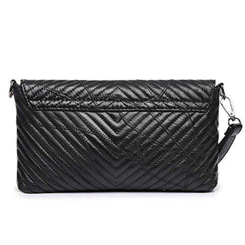 Great Strange Bolso de mano de señora Satchel bolso único Diagonal Cross Package Cover Shopping trabajo negro
