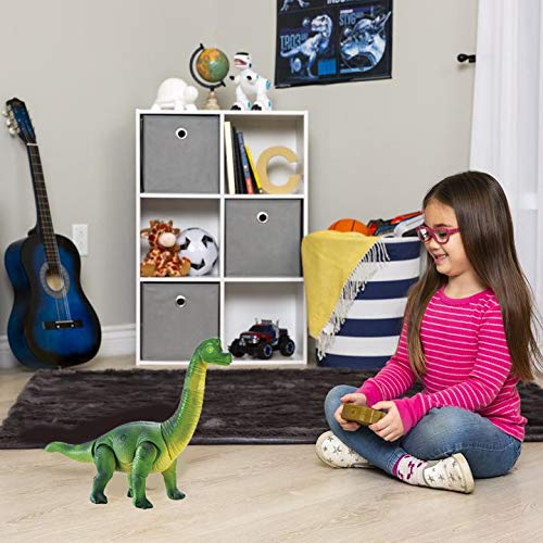 Liberty Imports Dino Planet Remote Control RC Walking Dinosaur Toy with Shaking Head, Light Up Eyes and Sounds (Brachiosaurus) by Liberty Imports (Image #4)