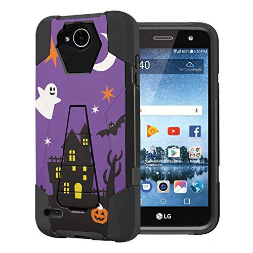 Capsule Case Compatible with LG Fiesta 2 (L163BL), LG X Power 2 (M320), LG X Charge (M322), Fiesta LTE, K10 Power, LS7 4G LTE [Dual Layer Combat Kickstand Case Black] - (Halloween)