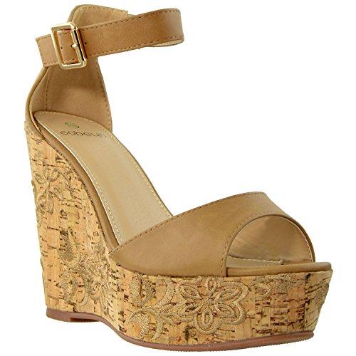 Womens High Heels Platform Sandals Ankle Strap Embroidered Cork Heel Wedges Tan SZ 9 ()