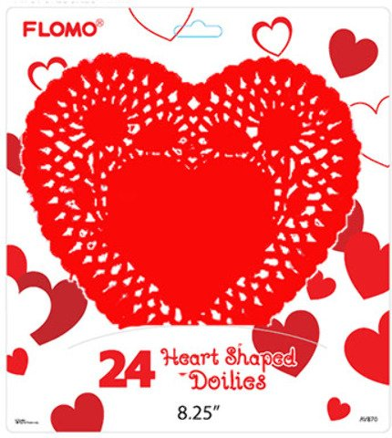 Flomo 2130720 Valentine Heart Shape Doilies - 8.25 in. - Case of 72 by FLOMO