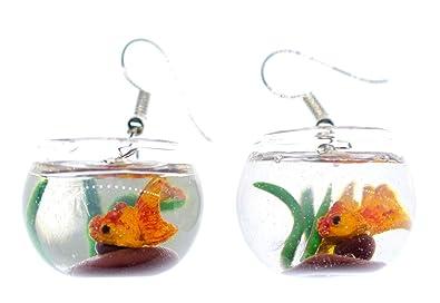 Peces de colores en una pecera pendientes tazón percha Miniblings acuario de peces: Amazon.es: Joyería