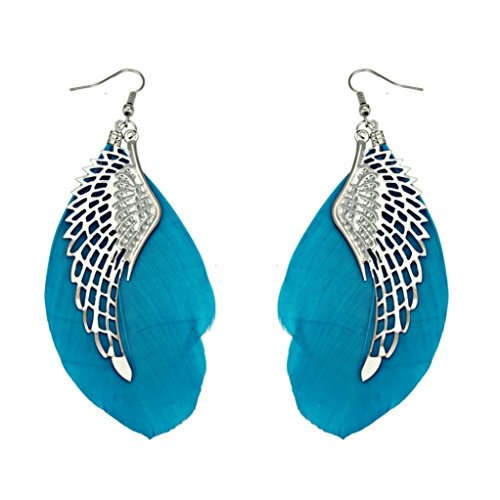 Women Earrings Liraly mother's day gift Bohemian Handmade Vintage Feather Long Drop Earrings