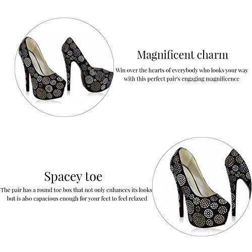 Trend-Stern-Frauen-Absatz-Plattformschuhe verziertes Schädel-Partei-Hochzeits-Diamantgröße 3-8 Style 4 - Rot