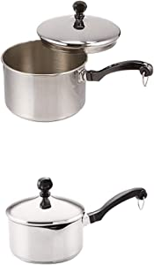 Farberware Classic Stainless Steel 2-Quart Covered Saucepan with Farberware Classic Stainless Steel 1-Quart Covered Straining Saucepan