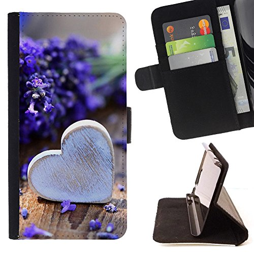 God Garden - FOR Apple Iphone 5 / 5S - Bouquet Avender Heart - Glitter Teal Purple Sparkling Watercolor Personalized Design Custom Style PU Leather Case Wallet Fli