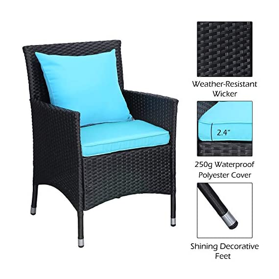 Do4U Outdoor Furniture Sets 3 Pieces Patio Wicker Bistro Set with Coffee Table Garden Lawn Dining Chairs (Turquoise) - 【3 PCs Patio Set Included】Composed of 2 single sofas and 1 coffee table with tempered glass for the complete outdoor conversation set. NO PILLOWS. 【All Weather-Resistant Resin】Designed Perfect for indoor, outdoor garden, apartment, park, porch, poolside and yard use, this wicker conversation set is strong enough to withstand the rain, sun, and wind. 【Upgraded Comfort】These lofty sponge padded cushions won't collapse after use, resist water, and easy to clean in between uses, and the cushion covers remove with a quick zip. - patio-furniture, patio, conversation-sets - 51GBze1AdyL. SS570  -