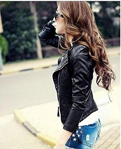 Locomotive Women Short Paragraph Leather Jacket,M by Fengbay (Image #1)