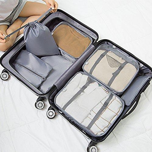 Travel Organizer 7PCS da Borsa gray Aubess per viaggio bagagli 5ASqPqnxw